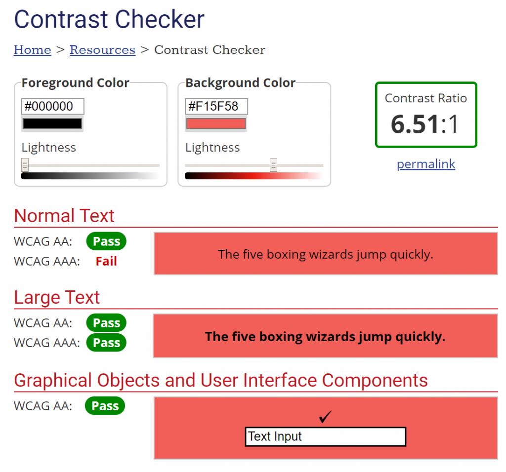 screenshot Webaim contrast checker