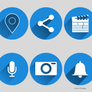 6 white icons in blue circles