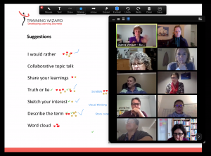 slide with dot voting and glallery with participants in videoconference