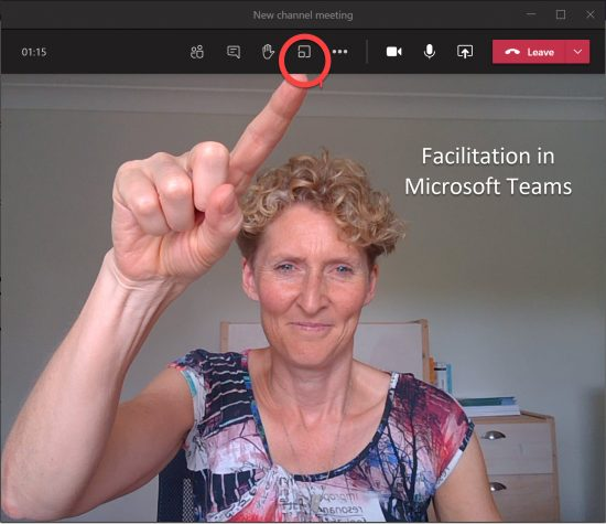 Dianna pointing at breakout room button in Microsoft teams