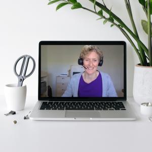 instructional designer on laptop during video production online