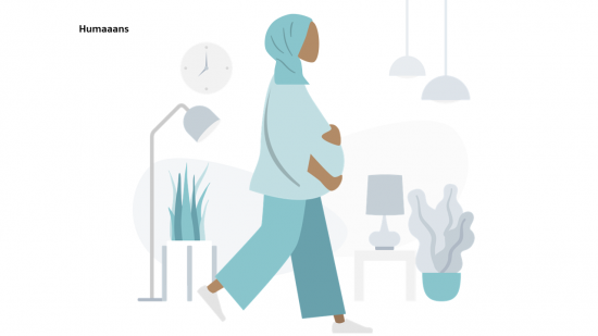 illustrated pregnant woman with headscarf walking through livingroom