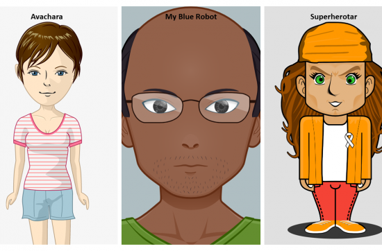 three different illustrated characters created with a 2D character creator